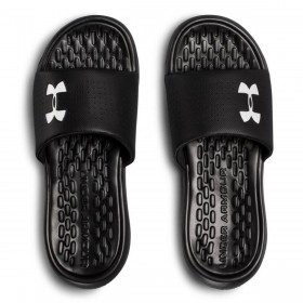 3000061 001 - UA Playmaker Fixed Strap Slides BLACK